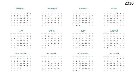 캘린더 infographic, 테이블 차트, 프레 젠 테이션 차트. 비즈니스 기간 개념입니다. 작업 관리자. 주, 월. 2020 년. 시간 관리. 주최자 날짜 일기. 일요일 첫날. 스톡 콘텐츠 - 89923053