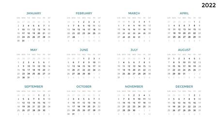 캘린더 infographic, 테이블 차트, 프레 젠 테이션 차트. 비즈니스 기간 개념입니다. 작업 관리자. 주, 월. 2022 년. 시간 관리. 주최자 날짜 일기. 일요일 첫날. 스톡 콘텐츠 - 90027427
