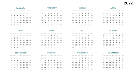 Calendar infographic, table chart, presentation chart. Business period concept. Task manager. Week, month. 2022 year. Time management. Organizer date diary. First day Sunday.