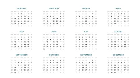 Kalender infographic, tabelgrafiek, presentatiegrafiek. Periode bedrijfsconcept. Taakbeheer. Week maand. 2019 jaar. Tijdsbeheer. Organisator datum dagboek. Eerste dag zondag. Stockfoto