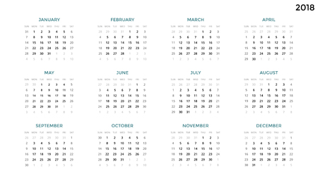 Calendar infographic, table chart, presentation chart. Business period concept. Task manager. Week, month. 2018 year. Time management. Organizer date diary. First day Sunday.