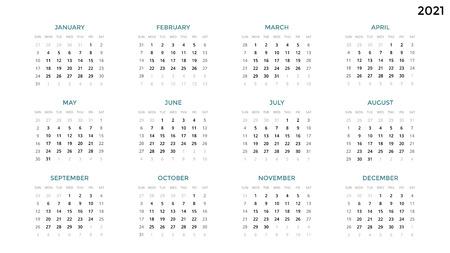 Calendario infografía, tabla de tabla, tabla de presentación. Concepto de período de negocios. Administrador de tareas. Semana mes. 2021 años. Gestión del tiempo. Diario de la fecha del organizador. Primer día el domingo.