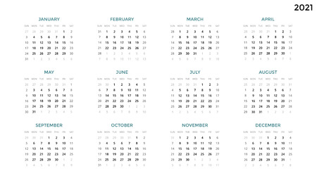Calendar infographic, table chart, presentation chart. Business period concept. Task manager. Week, month. 2021 year. Time management. Organizer date diary. First day Sunday.