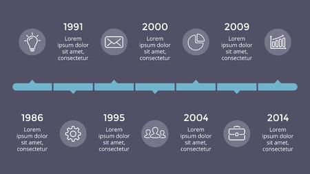 벡터 metaball 삼각형 타임 라인 infographic, 다이어그램 차트, 그래프 프레 젠 테이 션. 7 옵션, 부품, 단계, 프로세스와 비즈니스 진행 개념. 어두운 슬라이 일러스트