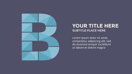 Vector alphabet infographic. Presentation slide template. Business font concept with letter B and place for your text. 16x9 aspect ratio. First leader.