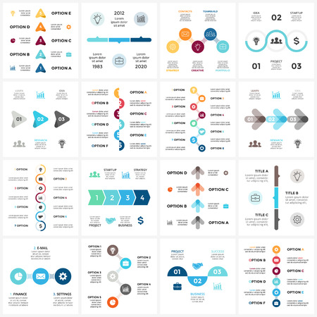 Business progress concept with options, parts, steps, and processes. Vector Illustration