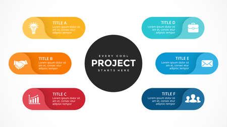 Vector cerchio frecce infografica, diagramma del ciclo, grafico delle etichette, grafico di presentazione degli adesivi. Concetto di affari con 6 opzioni, parti, passaggi, processi. Modello di diapositiva.