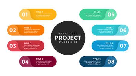 Vector cercle flèches infographique, diagramme de cycle, graphique des étiquettes, tableau de présentation des autocollants. Concept d'entreprise avec 8 options, pièces, étapes, processus. Modèle de diapositive. Vecteurs