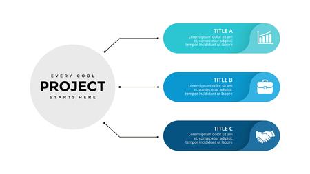 Wektora infographic strzałki koło, schemat cyklu, wykres etykiety, wykres prezentacji naklejek. Koncepcja biznesowa z 3 opcjami, częściami, krokami, procesami. Szablon slajdów. Ilustracje wektorowe