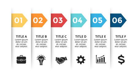 Infografía de flechas de papel vectorial, diagrama de banners, gráfico de etiquetas, gráfico de presentación de pegatinas. Concepto de negocio con 6 opciones, piezas, pasos, procesos. Plantilla de diapositiva. Ilustración de vector