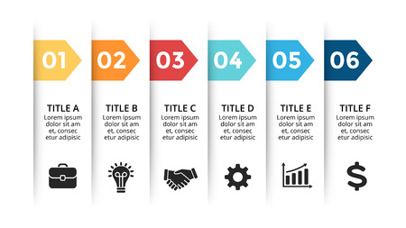 Vector paper arrows infographic, banners diagram, labels graph, stickers presentation chart. Business concept with 6 options, parts, steps, processes. Slide template. Ilustração