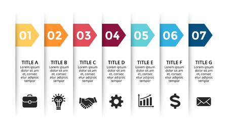 Infographie de flèches de papier de vecteur, diagramme de bannières, graphique d'étiquettes, tableau de présentation d'autocollants. Concept d'entreprise avec 7 options, pièces, étapes, processus. Modèle de diapositive.
