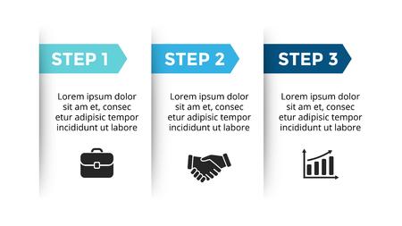 Koło strzałki diagramu wykresu prezentacji infografiki z opcjami części kroków. Ilustracje wektorowe