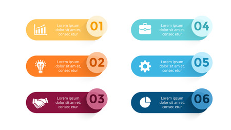 Circle arrows diagram for graph infographic presentation with steps parts options. Çizim