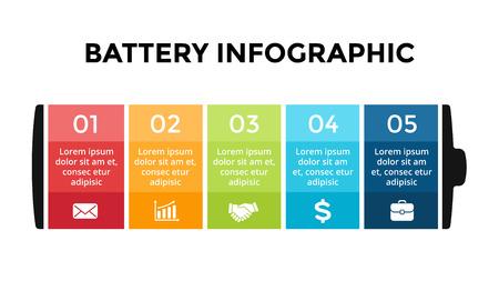 Modello di infografica batteria vettoriale. Modello di diapositiva di presentazione. Concetto di business con 5 opzioni, parti, passaggi, processi.