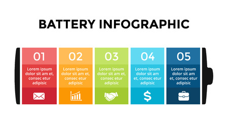 Vector battery infographic template. Presentation slide template. Business concept with 5 options, parts, steps, processes. Stockfoto