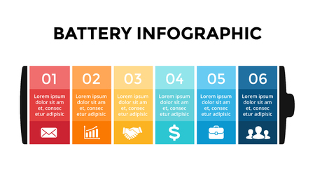 Vector battery infographic template. Presentation slide template. Business concept with 6 options, parts, steps, processes.