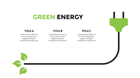 Vector infographic template. Green energy plug. Presentation slide template. Business concept with 3 options, parts, steps, processes. Фото со стока