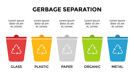 Vector infographic template. Gerbage separation. Recycle arrows sign. Presentation slide template. Environmental care concept. Archivio Fotografico