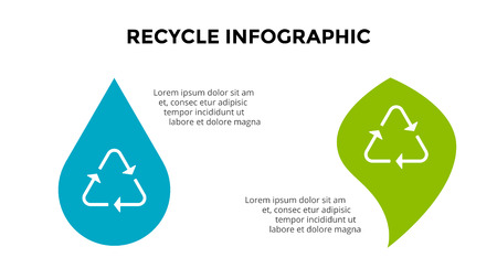 Vector infographic template. Water drop and leaf. Presentation slide template. Business concept with 2 options, parts, steps, processes.