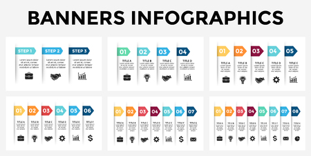 Vector arrows banners infographic templates set. Stickers paper presentation slide. Business labels concept infographics. 3, 4, 5, 6, 7, 8 options, parts, steps, processes.
