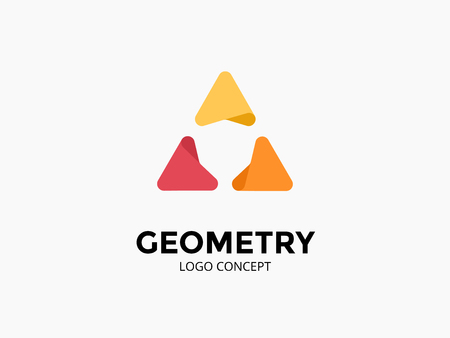 Triangle logo template. Modern vector abstract circle creative sign or symbol. Design geometric element