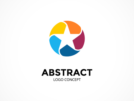 Star logo template. Modern vector abstract circle creative sign or symbol. Design geometric element
