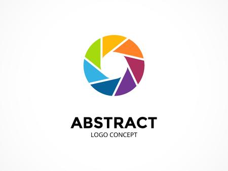 Vorlage für das Membranlogo. Kreatives Zeichen oder Symbol des modernen Vektorzusammenfassungskreises. Geometrisches Kameraelement entwerfen.