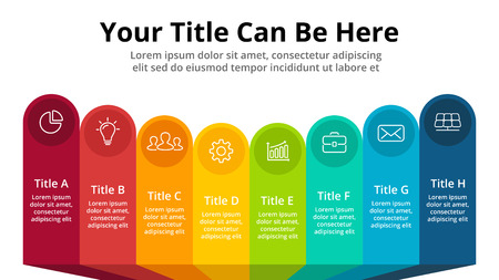 Vector banners infographic template. Stickers presentation slide. Business labels concept infographics. 8 options, parts, steps, processes.