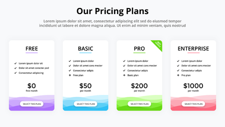 Vector pricing plan banners infographic template. Marketing presentation slide. Business labels concept infographics. 4 options, parts, steps, processes. Иллюстрация
