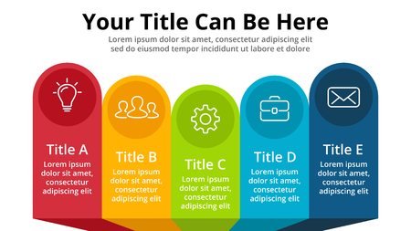 Vector banners infographic template. Stickers presentation slide. Business labels concept infographics. 5 options, parts, steps, processes.