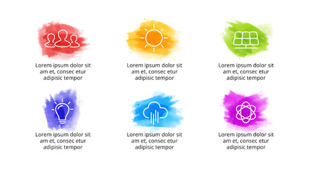 Brush stroke watercolor infographic template. Presentation slide. Creative art concept with 6 options, parts, steps, processes. Иллюстрация