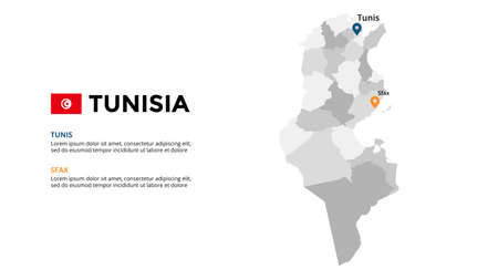 Tunisia vector map infographic template. Slide presentation. Global business marketing concept. Color country. World transportation geography data. 일러스트