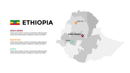 Ethiopia vector map infographic template. Slide presentation. Global business marketing concept. Color country. World transportation geography data. 일러스트