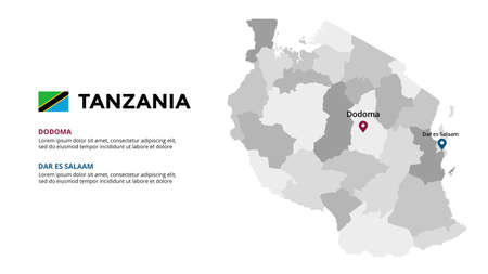 Tanzania vector map infographic template. Slide presentation. Global business marketing concept. Color country. World transportation geography data.