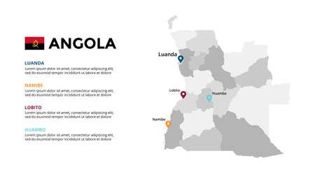 Angola vector map infographic template. Slide presentation. Global business marketing concept. Color country. World transportation geography data. 일러스트
