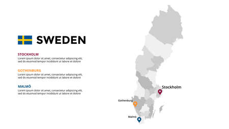 Sweden vector map infographic template. Slide presentation. Stockholm, Gothenburg, Malmo. Global business marketing concept. Color Europe country. 向量圖像
