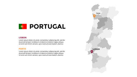 Portugal vector map infographic template. Slide presentation. Lisbon, Porto. Global business marketing concept. Color Europe country. World transportation geography data.
