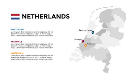 Netherlands vector map infographic template. Slide presentation. Amsterdam, The Hague, Rotterdam. Europe country. World transportation geography data.