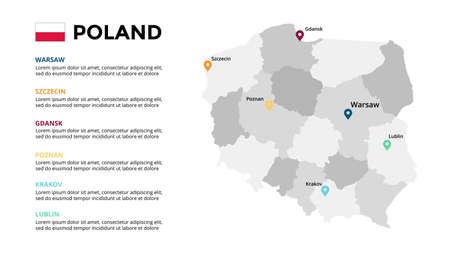 Poland vector map infographic template. Slide presentation. Warsaw, Krakow, Gdansk, Szczecin, Poznan, Lublin. Color Europe country. World transportation geography data. Ilustração