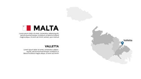 Malta vector map infographic template. Slide presentation. Global business marketing concept. Color Europe country. World transportation geography data.