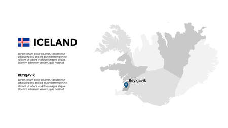 Iceland vector map infographic template. Slide presentation. Global business marketing concept. Color Europe country. World transportation geography data.