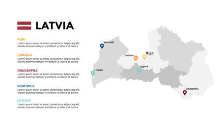 Latvia vector map infographic template. Slide presentation. Global business marketing concept. Color Europe country. World transportation geography data.
