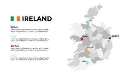 Ireland vector map infographic template. Slide presentation. Global business marketing concept. Color Europe country. World transportation geography data.