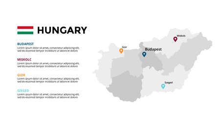 Hungary vector map infographic template. Slide presentation. Global business marketing concept. Color Europe country. World transportation geography data.