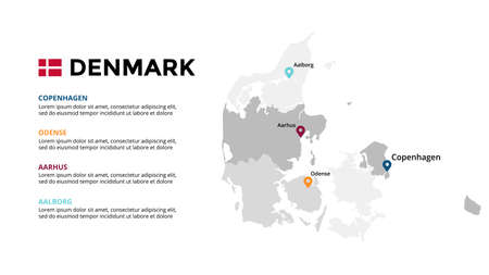 Denmark vector map infographic template. Slide presentation. Global business marketing concept. Color Europe country. World transportation geography data.