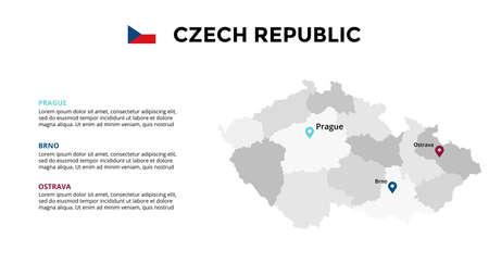 Czech Republic vector map infographic template. Slide presentation. Global business marketing concept. Color Europe country. World transportation geography data. Ilustração