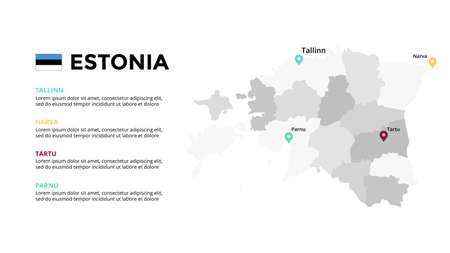 Estonia vector map infographic template. Slide presentation. Global business marketing concept. Color Europe country. World transportation geography data.