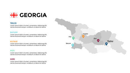 Georgia vector map infographic template. Slide presentation. Global business marketing concept. Color Europe country. World transportation geography data. Ilustração