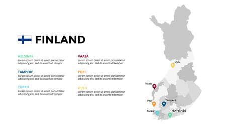 Finland vector map infographic template. Slide presentation. Global business marketing concept. Color Europe country. World transportation geography data. Ilustração